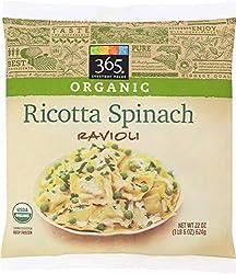 365 Everyday Value, Organic Ricotta Spinach Ravioli, 22 oz, (Frozen)