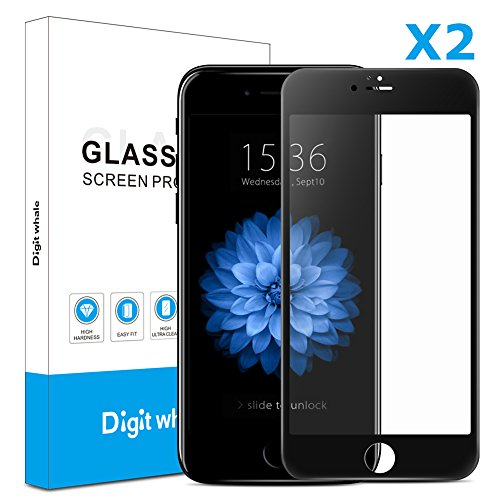 2-Pack iPhone 6s Plus 6 Plus Screen Protector, DIGITWHALE 3D Full Curve Soft Edge Tempered Glass Screen Protector Film for iPhone 6S Plus and iPhone 6 Plus 5.5'-Black