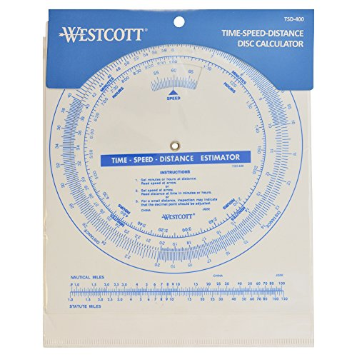 Westcott Protractor Time Speed Distance Disc Calculator, White (TSD-400)