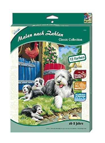 MAMMUT 110005 - Malen nach Zahlen Classic Tiermotiv, Hundefamilie, Komplettset mit bedruckter Malvorlage im A4 Format, 12 Acrylfarben und Pinsel, Malset für Kinder ab 8 Jahre