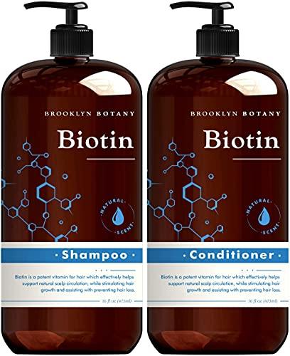 Brooklyn Botany Biotin Shampoo and Conditioner for Hair Growth and Volume – Anti Dandruff - Volumizing and Nourishing Hair Thickening Shampoo and Conditioner Set for Hair Loss and Thinning Hair- 16 Oz