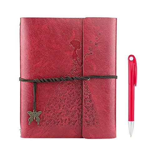 YAOHU A5 Libreta Bonitas, Cuaderno de Cuero Vintage Diario de Viaje Recargable Bloc de Notas con Páginas en Blanco Regalo original San Valentín Navidad cumpleaños para Hombre Mujer Niños, Rojo S