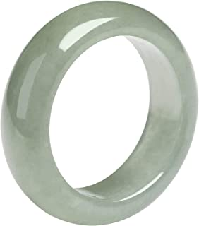 Chinese Natural Jade Ring Band for Women, Size 16mm-19mm