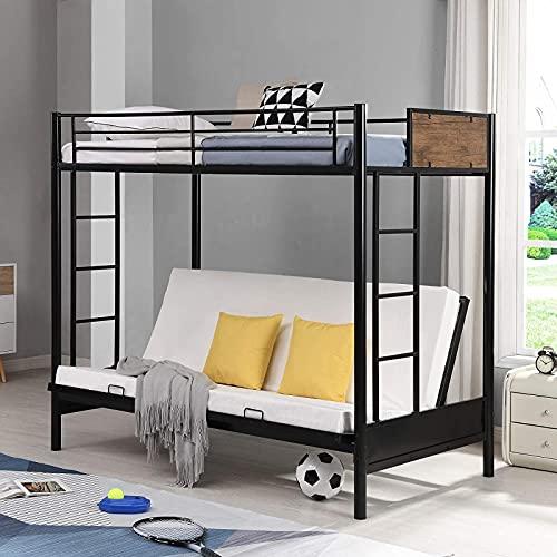 MWKL Cama Doble Convertible sobre futón más Nueva, litera de Metal Doble sobre Completa con Dos escaleras y barandilla, sin Necesidad de somier