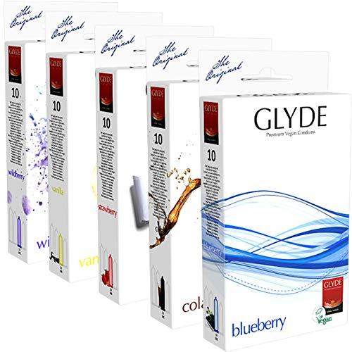 Glyde Condoms Aroma-Sortiment, 50 vegane Kondome (Blueberry, Cola, Strawberry, Vanilla, Wildberry)