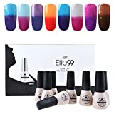 Elite99 Temperature Color Changing Gel Nail Polish Kit 8 Colors, Soak Off UV LED Nail Polish Set Nail Art C049