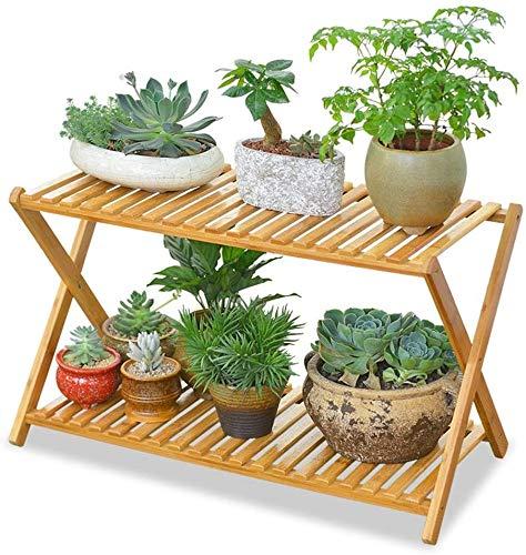 ZFB8B Soporte para plantas de madera maciza de 2 niveles, soporte para plantas, estante de flores para interiores, balcón, sala de estar materiales de alta calidad
