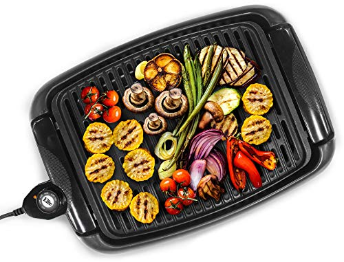 Elite Gourmet Indoor Electric Non-Stick Grill Adjustable Thermostat, Dishwasher Safe, Faster Heat Up, Low-Fat Meals, Easy To Clean Design, Includes Glass Lid, 13', Black