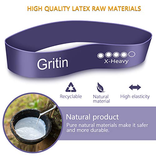 Gritin Resistance Bands, [Set of 5] Skin-Friendly Resistance Fitness Exercise Loop Bands with 5 Different Resistance Levels - Free Carrying Case Included - Ideal for Home, Gym, Yoga, Training