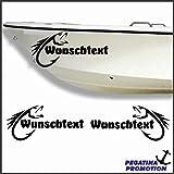 2 x Fisch + Bootsname nach Wunsch Aufkleber aus Hochleistungsfolie - viele Farben zur Auswahl -...