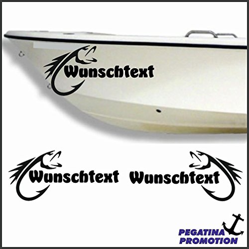 2 x Fisch + Bootsname nach Wunsch Aufkleber aus Hochleistungsfolie - viele Farben zur Auswahl - Angler Angelboot Sticker Boot Boote Beschriftung Bug Heck Fische Angeln Schlauchboot Nautic See Fischer Bootsbeschriftung Bootbeschriftung Fischen Sticker