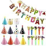 Decorazioni Compleanno,Compleanno Festa Decorazioni,1 Striscione Happy Birthday, 11 pezzi per Cappelli per Feste,15 pezzi Blowouts Whistles - Bambini Decorazioni Feste Compleanno