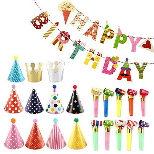 Partyhüte, 9 Kegel Hüte mit Pom Poms, 2 Kleine Kronen, Süßes Eismuster alles Gute zum Geburtstag Banner Kit,15 Stück Partytröten,Geeignet für Familienfeiern für Kinder und Erwachsene