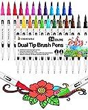 Rotuladores Lettering Brush Pen, 24 Colores, Acuarelables Marcadores para Adultos, Bullet Journal, Caligrafía, Libros...