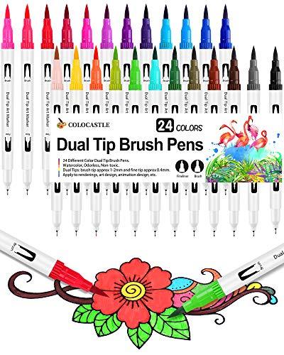 Brush Pen Pennarelli con Doppia Punta 24 Colori Brush Pen Lettering con Punta Fine 0,4 mm e 1-2mm Punta Brush Penne da Colorare ad Acquerello per Adulti Bullet Journal Calligrafia Colorare e Disegnare
