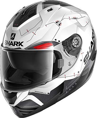 Shark Casco de moto RIDILL 1.2 MECCA WKR, Negro/Blanco/Rojo
