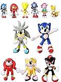 XINFA Traje de Felpa Sonic 11 unids/Set Sonic muñeco Peluche Juguetes Peluche Sonic Sonic Plush Cartoon Animal Soft Stuffed Sonic Dolls Regalos bebé