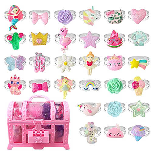 EleMirsa 30pcs Little Girl Jewel Rings Adjustable Costume Princess Pretend Play and Dress Up Rings...