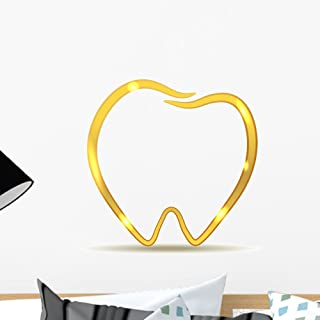 Wallmonkeys Golden Tooth Design Luxury Wall Decal Peel and Stick Graphic (18 in H x 18 in W) WM270272