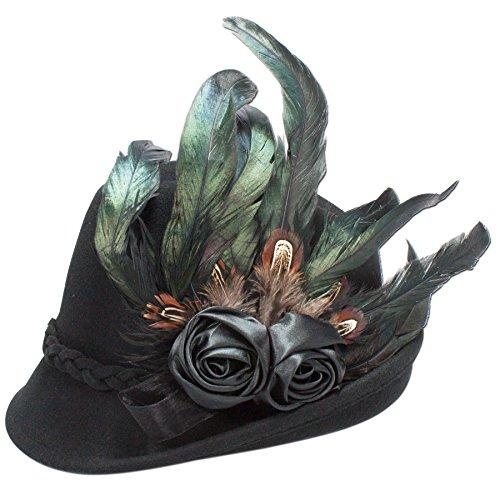 Alpenflüstern Damen Trachtenhut Filz Rosamunde mit Blüten - Federgesteck, Gr. 55/57 cm (Herstellergröße: Medium), Schwarz (Schwarz 00)