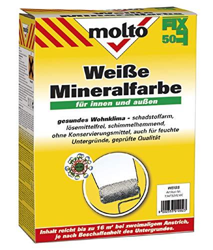 Molto Fixit 50 | weiße Mineralfarbe | atmungsaktive Farbe | Pulverförmig zum anrühren mit Wasser | Weißzementfarbe