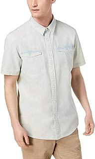 American Rag Mens Till Denim Shirt Bleach Blue Wash Size Medium