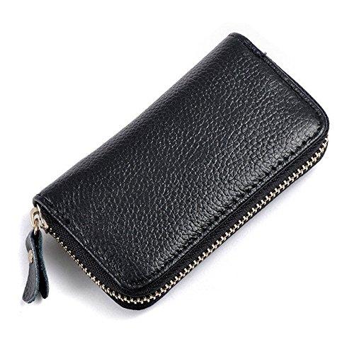KLOUD City Car Keychain Key Holder Bag Wallet Cover/Six Key Hook Zipper Case with Card Holder (Black)