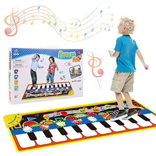 Children's Music Blanket Large Pad Dance Mats, 8 Instruments Touch Piano Keyboard Baby Activity Gym Floor Mat Baby Dancing Blanket for Kids Toddlers
