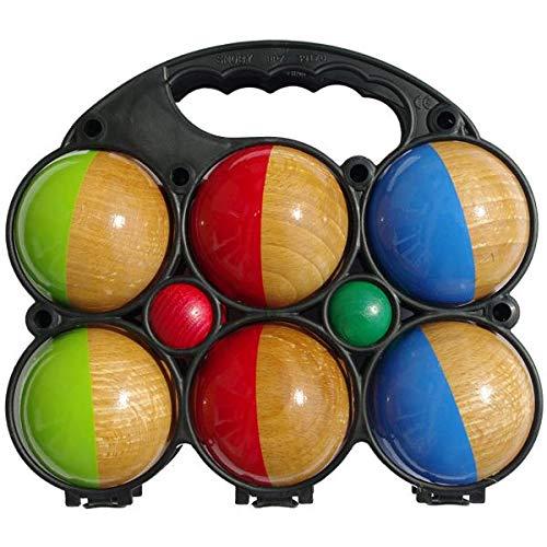 Set of 6 Two-Coloured Wooden Pétanque Balls