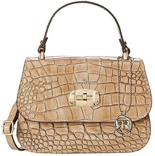 Roberta Rossi Handtasche Tasche klein per Hand und Schultergurt abends crossbody echtes Leder Krokodildruck Made in Italy 20x14x8 cm RR12ST12CGGLD_P