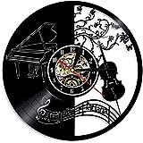 Reloj de Pared de Vinilo para Piano y Violonchelo descripción de la música Arte de la Pared decoración partituras sin LED