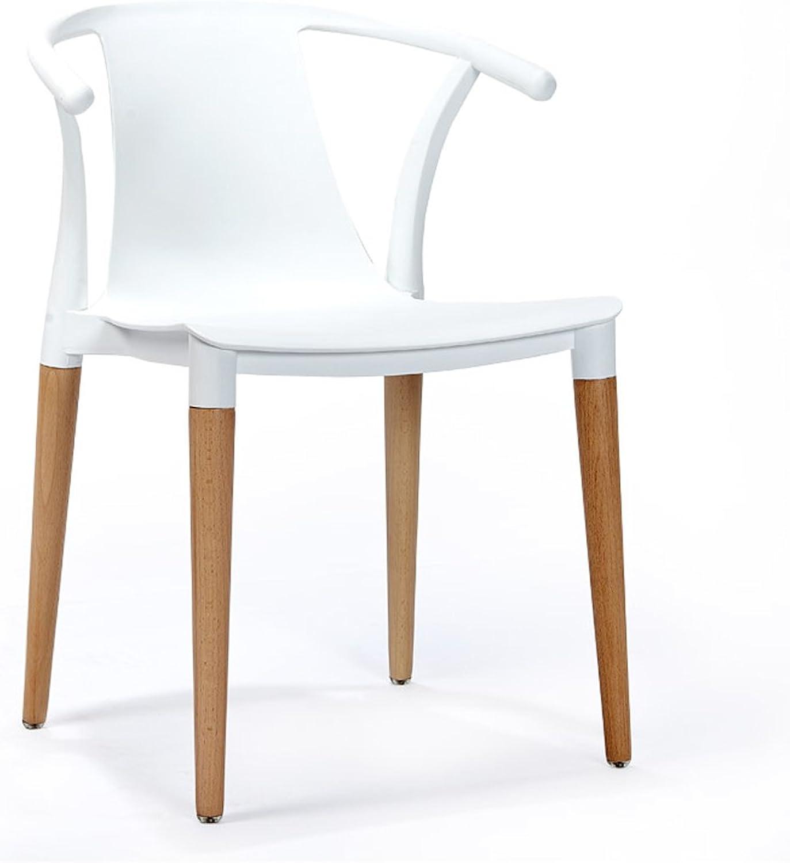 LRW Nordic Modern Minimalist Dining Chair, Leisure Fashion Handrail Backrest Restaurant Home Chair (color   White)
