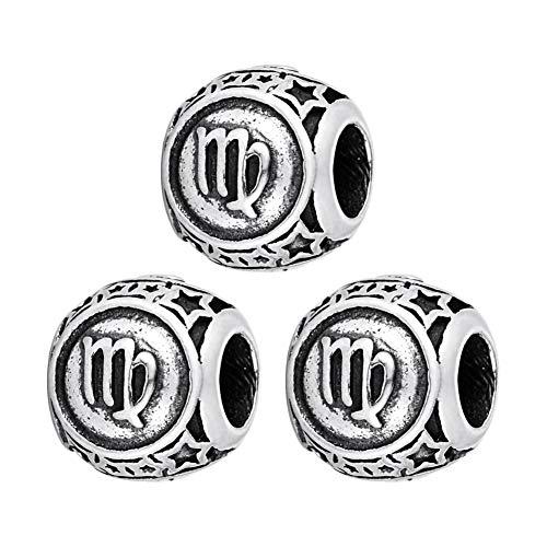 KY Jewelry - Juego de 3 perlas para enhebrar, acero inoxidable, plata, perlas intermedias, vintage, signo del zodiaco, para manualidades, para pulseras, collares, joyas, decoración, 9 x 10 mm, cangrejo, acero inoxidable, Jungfrau