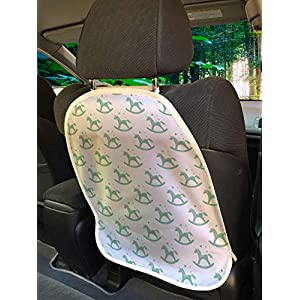 Ambesonne Childish Car Seat Protector Set of 2, Monochrome Rocking Unicorn Chairs Bubbles Nursery Baby Shower Pony, Universal Kick Mat for Dirt Mud & Scratches, 18″ x 24″, Almond Green and White