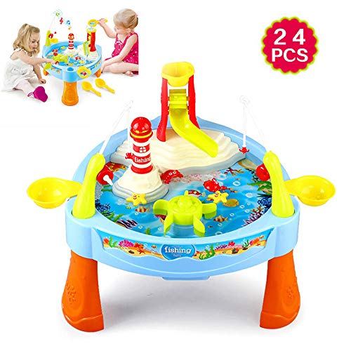 Zand En Water Vissen Tafel Met Licht En Muziek Voor Peuters, Water Speeltafel Toy Visspel Inclusief Diverse Accessoires (BLUE)