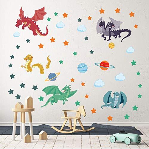 decalmile Wandtattoo Drache Bunter Wandsticker Planet Sterne Wandaufkleber Jungs Babyzimmer Kinderzimmer Spielzimmer Schlafzimmer Wanddeko