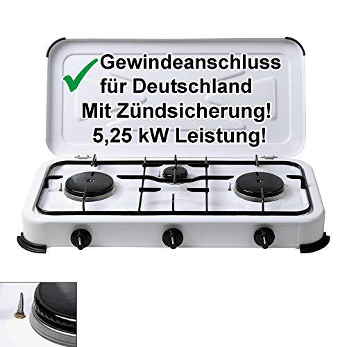CAGO Campingkocher Gaskocher 3-flammig mit Zündsicherung Gasherd 50 mbar mit Deckel Weiss