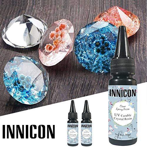 INNICON 30MLx2 UV-hars Harde soort lijm UV-epoxyhars Helder Transparant Niet-giftig Voor Handgemaakte DIY Mallen Nail Art Accessoires Sieraden Ambachtelijke Decoratie Maken