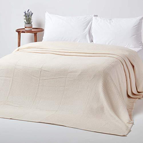 Homescapes Tagesdecke, Bettüberwurf aus 100prozent Bio-Baumwolle, Natur, Piqué-Waffeldecke 230 x 230 cm