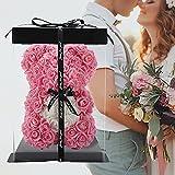 Rose Teddybär, Rosenbär, Blumenbär, 10 'Blumenbären, Forever Rose Bear Foam Künstliche Blume, Geschenk für Frauen, einzigartige Geschenke, Geschenke für Mama (pink)