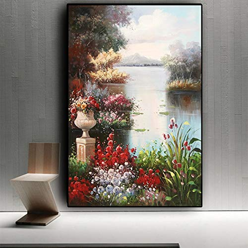 UIOLK Abstract garden landscape oil painting on canvas poster and Nordic style living room decoration painting on mural