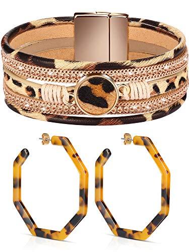 Hicarer Leopard Armbänder Ohrringe für Frauen Geometrische Achteck Creolen Mehrschichtige Leder Manschette Breites Leder Wickelarmband mit Magnetverschluss, Böhmischer Schmuck für Mädchen