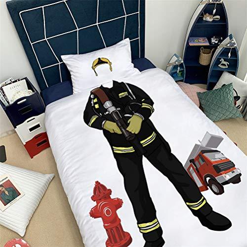 ADGAI Character Speel Dekbedovertrek Set Politie Brandweerman Gedrukt Hypoallergene Zachte Microvezel 3 Stuks Beddengoed Quilt Cover Set voor Kinderen Tiener