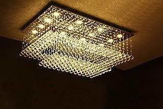 Modern Contemporary Rectangular Chandelier for Living Room Flush Mount Ceiling Lighting Fixture Crystal Chandelier, H14