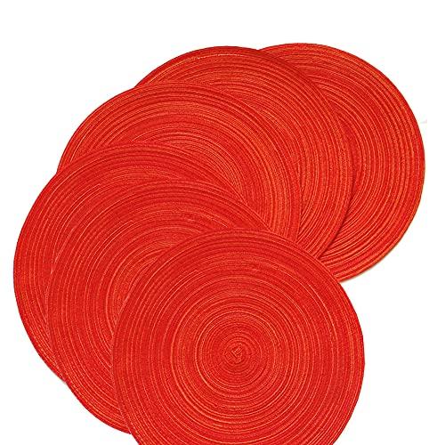 Lichi 6 manteles individuales redondos, antideslizantes, lavables, 18 cm, color rojo