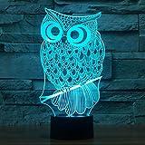 Novità Gufo 3D Illusion Lamps LED Night Lights 7 colori Lampeggiante USB Powered Touch Switch...