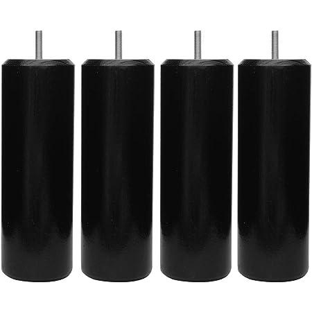 Margot 3700527821290 Cylindre Lot de 4 Pieds de Sommier, Noir,Hauteur 15 cm