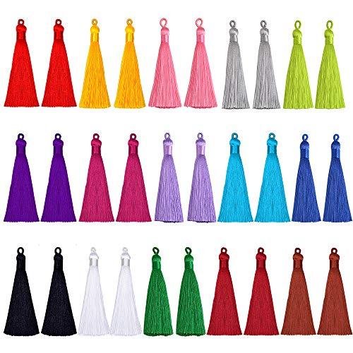 Tassel Silky Handmade Soft Mini Tassels with Loops Fashion Imitation Silk Multi-color Tassel for Jewelry Making Elegant DIY Projects Keychain Bookmarks Souvenir Craft Accessories 3.5 Inch 30 Pack