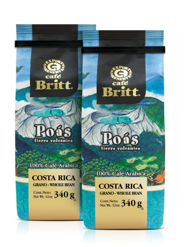Gourmet Café Britt - Poás Tierra Volcánica 340g - 100% Arábica ganze Bohne aus Costa Rica