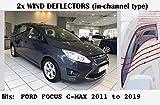 OEMM Lot de 2 déflecteurs d'air en Forme de Canal Compatible avec Les déflecteurs de fenêtre Ford Focus C-Max Grand C-Max 2011 2012 2013 2014 2015 2016 2017 2018 2019 en Verre Acrylique